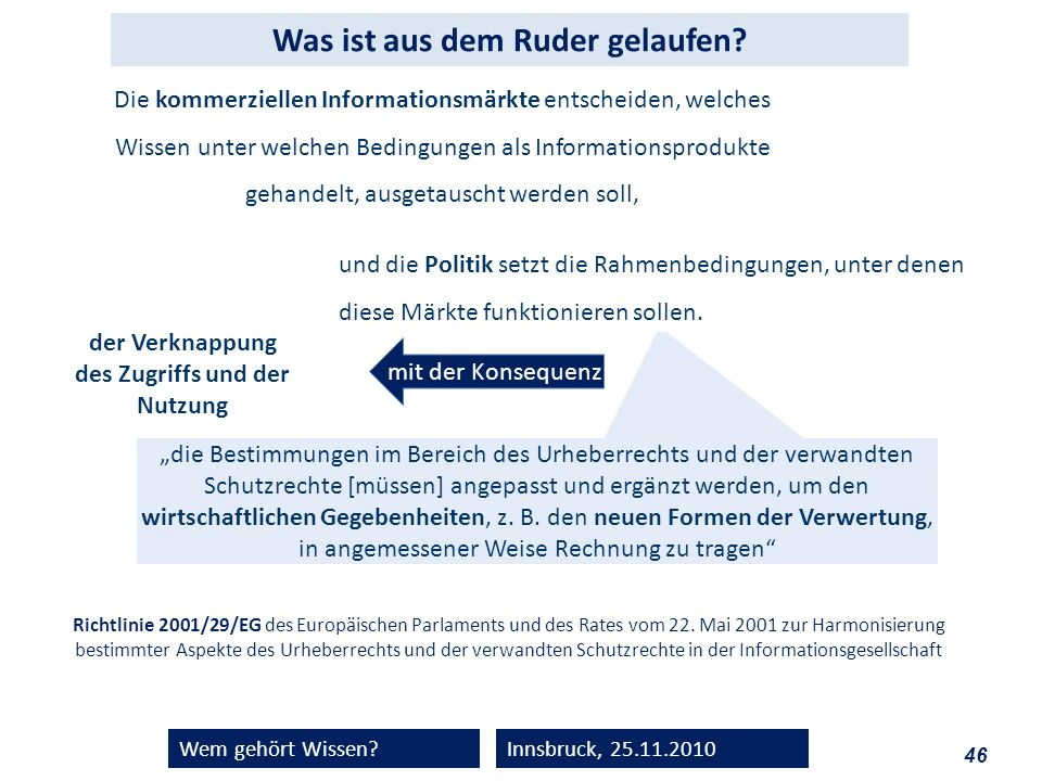 46 Wem gehört Wissen?Innsbruck, 25.11.2010 Was ist aus dem Ruder gelaufen? Die kommerziellen Informationsmärkte entscheiden, welches Wissen unter welc