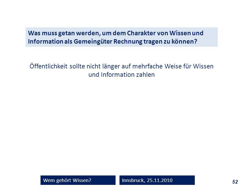 52 Wem gehört Wissen?Innsbruck, 25.11.2010 Was muss getan werden, um dem Charakter von Wissen und Information als Gemeingüter Rechnung tragen zu könne