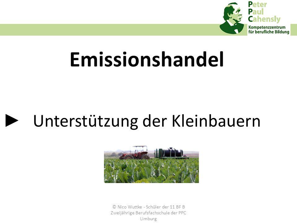 Unterstützung der Kleinbauern Emissionshandel © Nico Wuttke - Schüler der 11 BF B Zweijährige Berufsfachschule der PPC Limburg