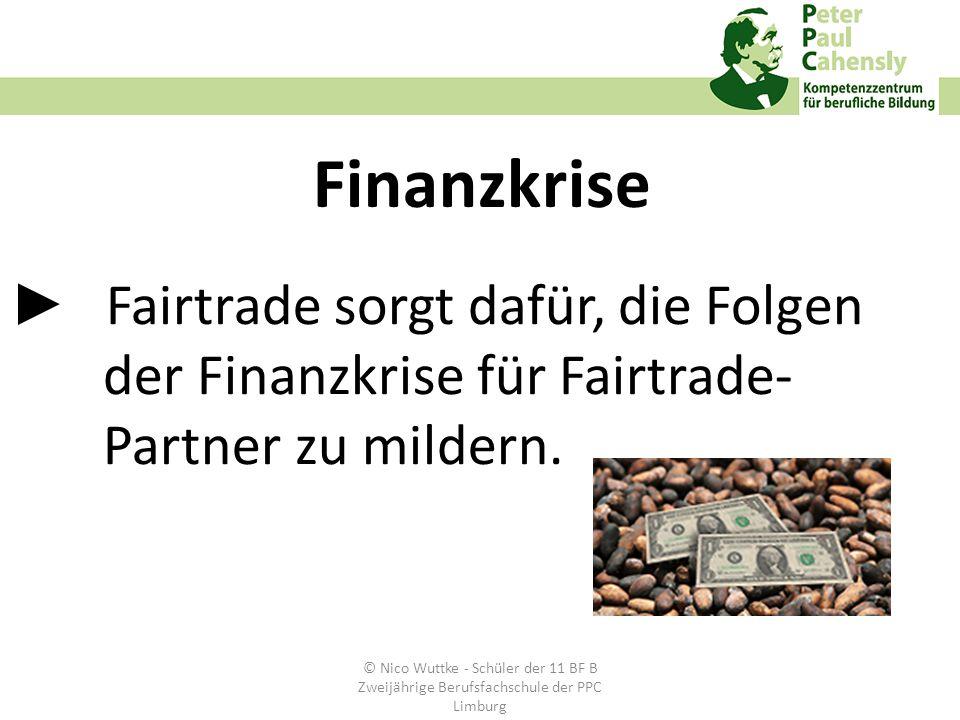 Fairtrade sorgt dafür, die Folgen der Finanzkrise für Fairtrade- Partner zu mildern. Finanzkrise © Nico Wuttke - Schüler der 11 BF B Zweijährige Beruf