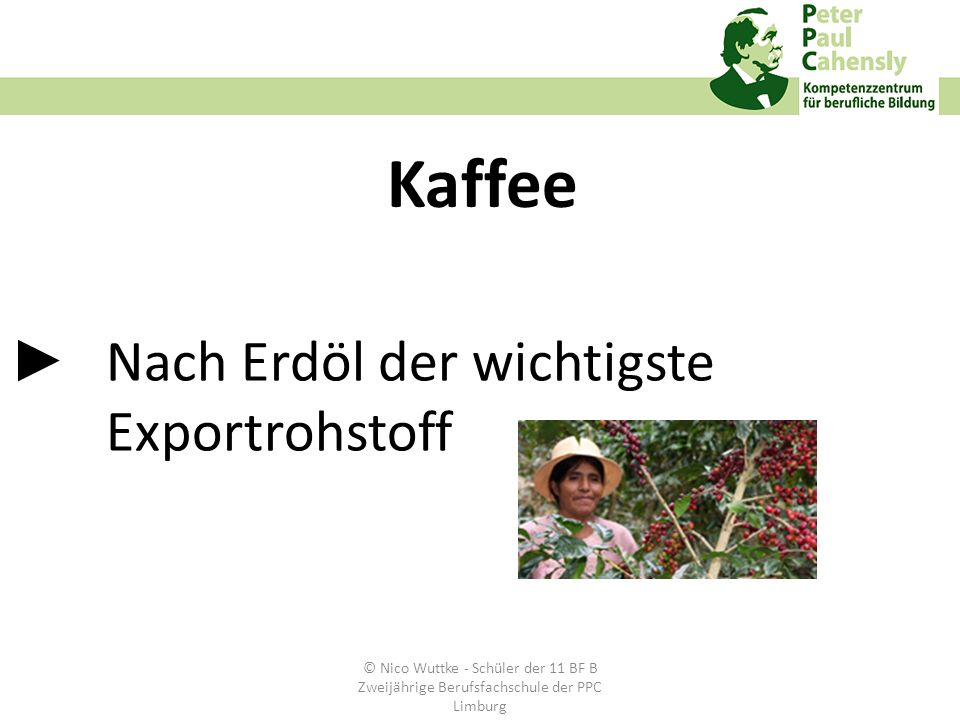 Nach Erdöl der wichtigste Exportrohstoff Kaffee © Nico Wuttke - Schüler der 11 BF B Zweijährige Berufsfachschule der PPC Limburg