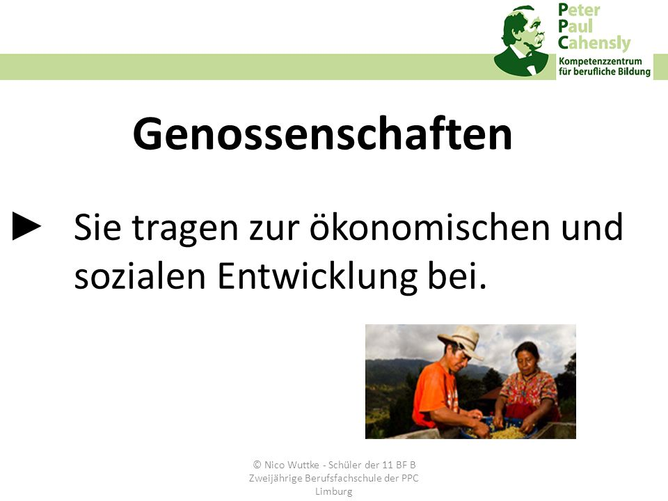 Sie tragen zur ökonomischen und sozialen Entwicklung bei. Genossenschaften © Nico Wuttke - Schüler der 11 BF B Zweijährige Berufsfachschule der PPC Li