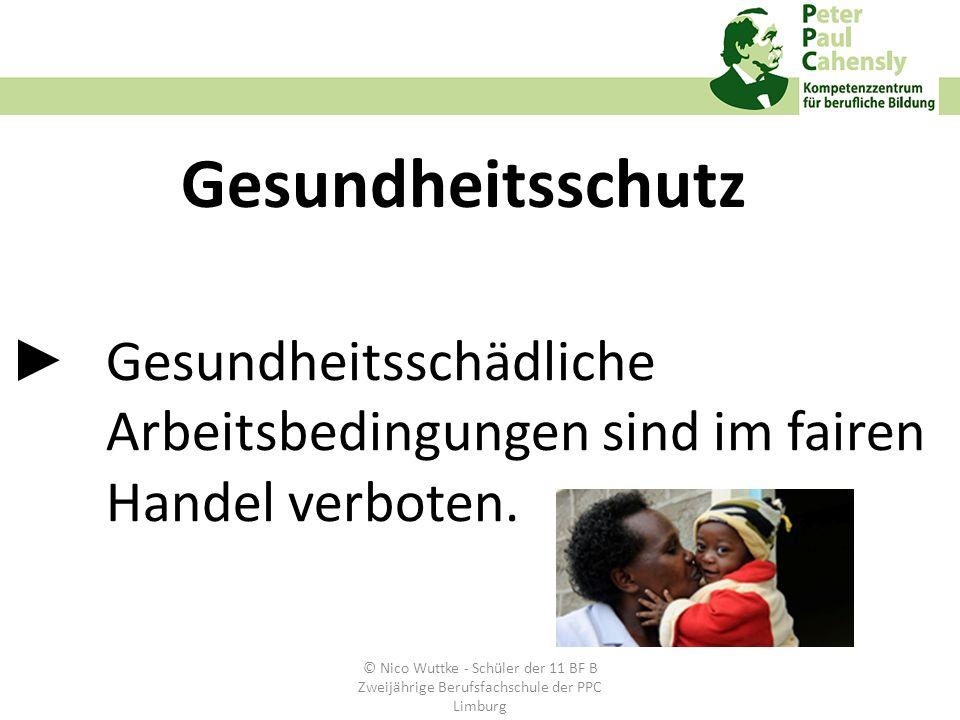 Gesundheitsschädliche Arbeitsbedingungen sind im fairen Handel verboten. Gesundheitsschutz © Nico Wuttke - Schüler der 11 BF B Zweijährige Berufsfachs