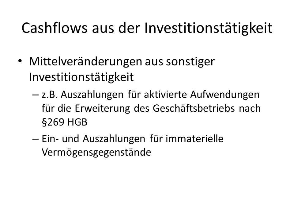Mittelveränderungen aus sonstiger Investitionstätigkeit – z.B. Auszahlungen für aktivierte Aufwendungen für die Erweiterung des Geschäftsbetriebs nach