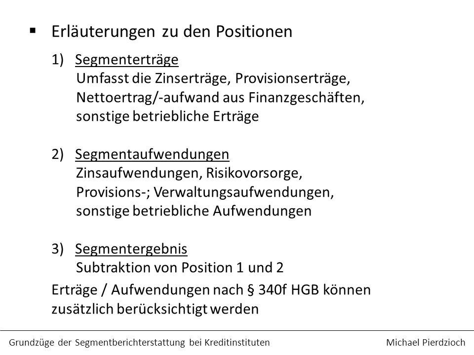 Erläuterungen zu den Positionen Grundzüge der Segmentberichterstattung bei Kreditinstituten Michael Pierdzioch 1)Segmenterträge Umfasst die Zinserträg