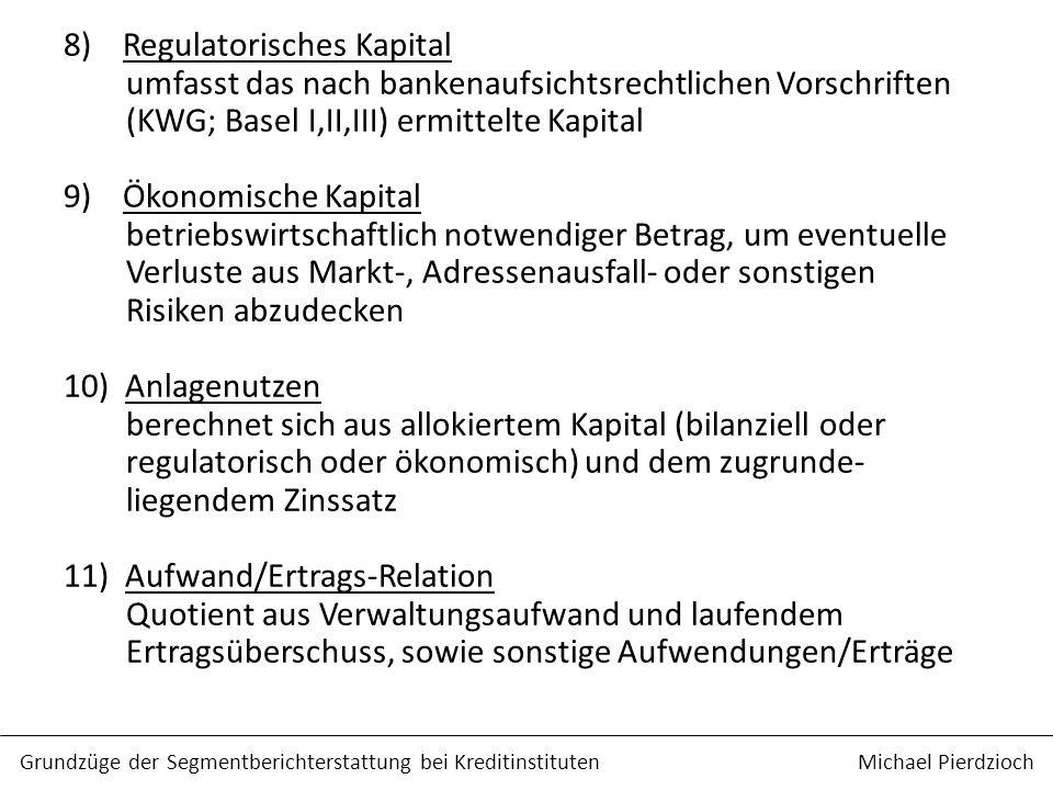 8) Regulatorisches Kapital umfasst das nach bankenaufsichtsrechtlichen Vorschriften (KWG; Basel I,II,III) ermittelte Kapital 9) Ökonomische Kapital be