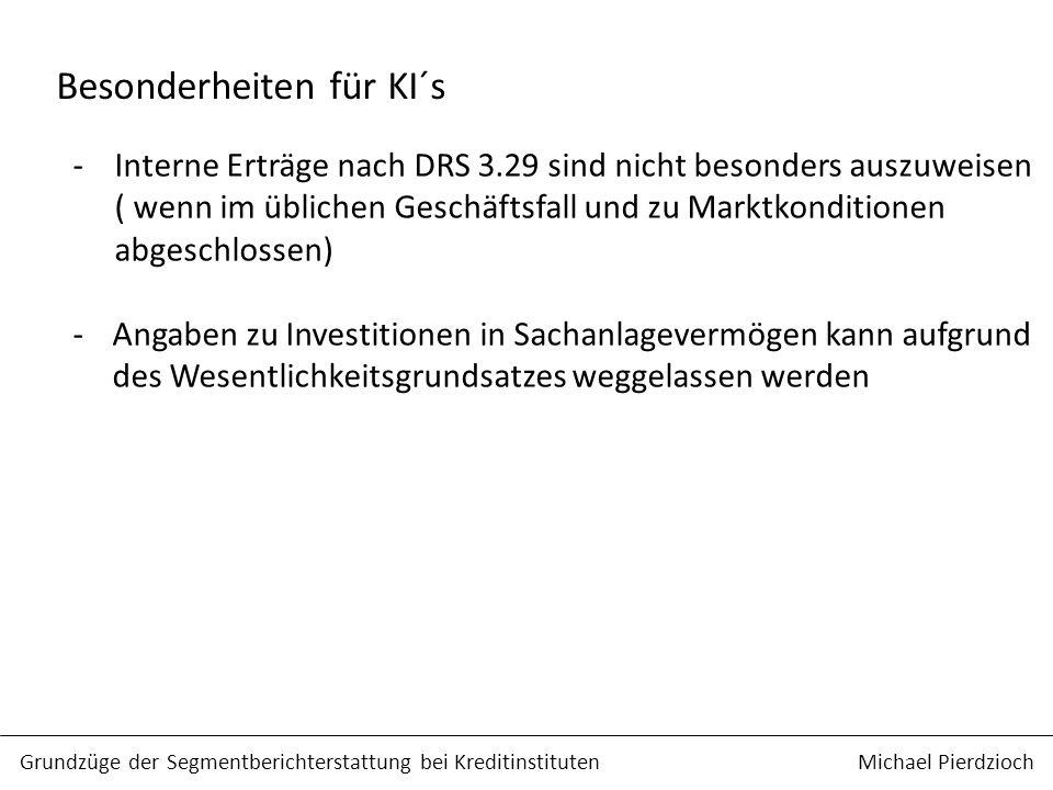 Besonderheiten für KI´s -Interne Erträge nach DRS 3.29 sind nicht besonders auszuweisen ( wenn im üblichen Geschäftsfall und zu Marktkonditionen abges