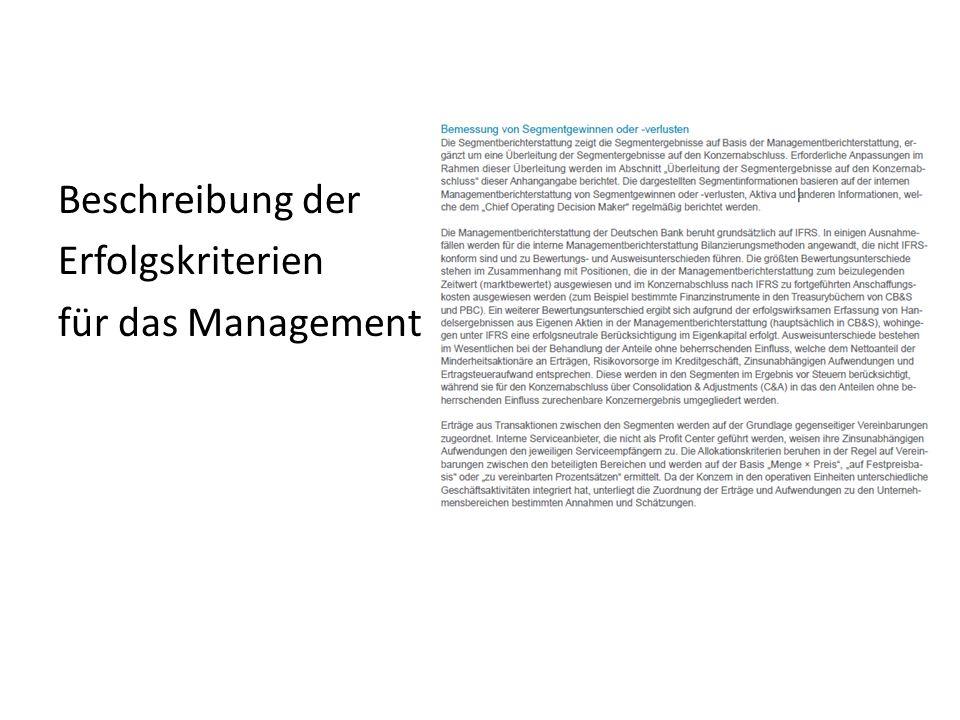 Beschreibung der Erfolgskriterien für das Management