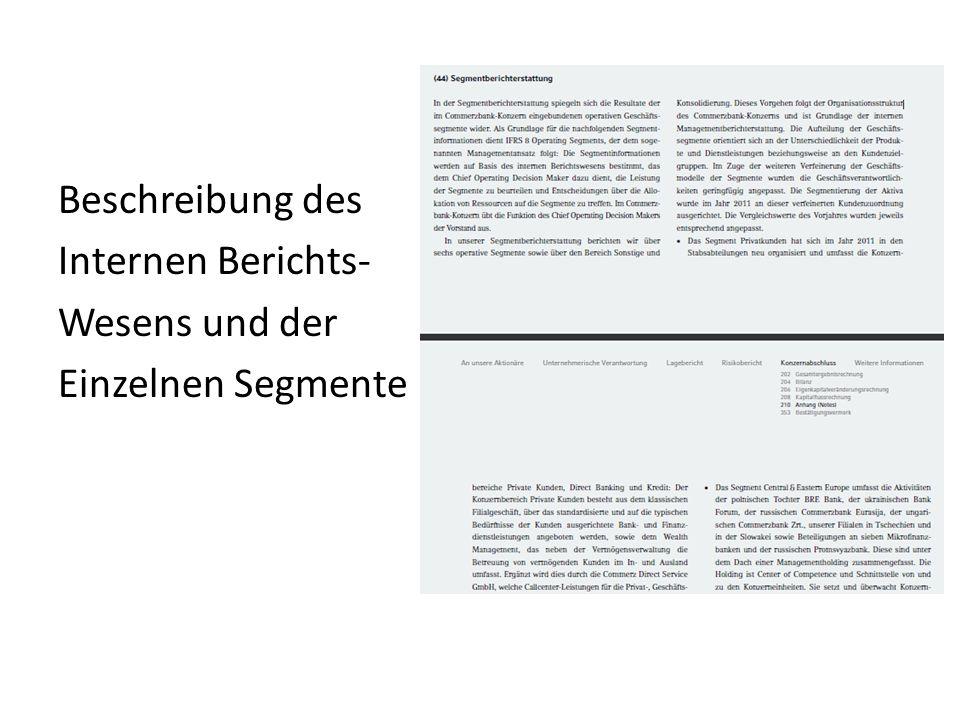 Beschreibung des Internen Berichts- Wesens und der Einzelnen Segmente