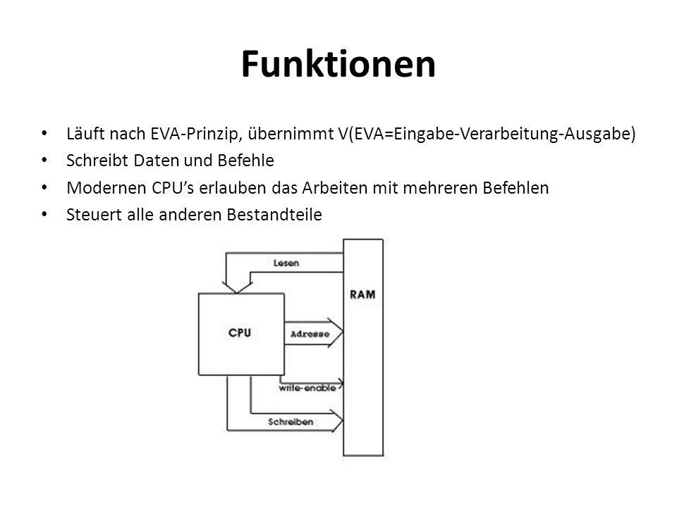 Funktionen Läuft nach EVA-Prinzip, übernimmt V(EVA=Eingabe-Verarbeitung-Ausgabe) Schreibt Daten und Befehle Modernen CPUs erlauben das Arbeiten mit me