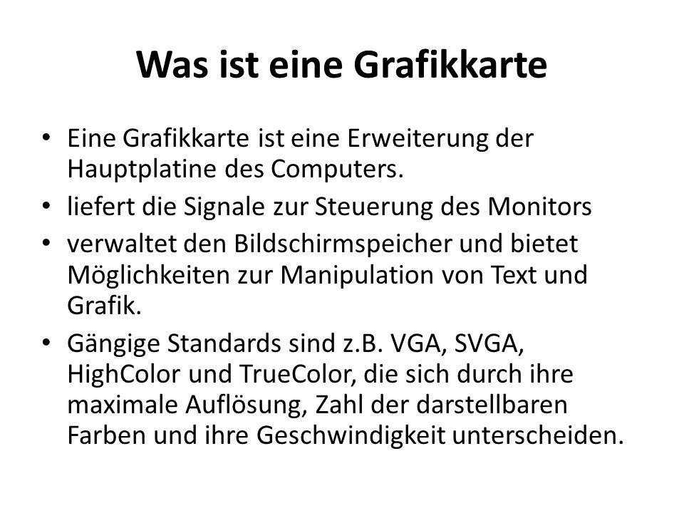 Aufbau einer Grafikkarte Grafikschnittstelle (Bus) Grafikchip/-prozessor (GPU) Grafikspeicher (VRAM) RAMDAC Monitor-Schnittstelle