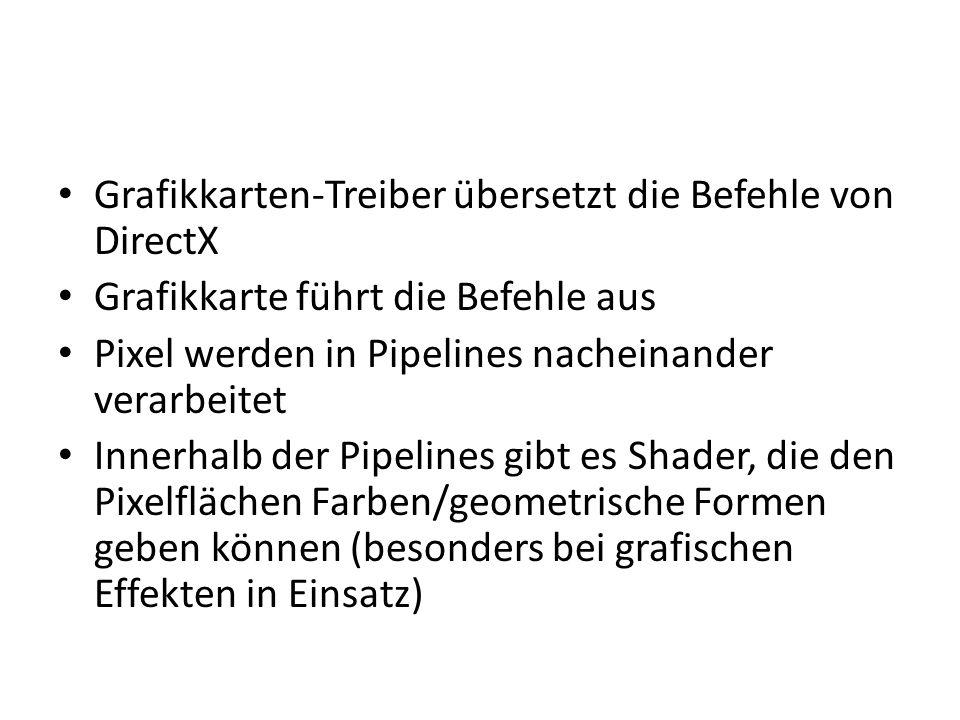 Grafikkarten-Treiber übersetzt die Befehle von DirectX Grafikkarte führt die Befehle aus Pixel werden in Pipelines nacheinander verarbeitet Innerhalb