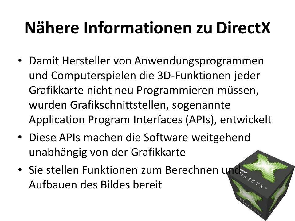 Nähere Informationen zu DirectX Damit Hersteller von Anwendungsprogrammen und Computerspielen die 3D-Funktionen jeder Grafikkarte nicht neu Programmie