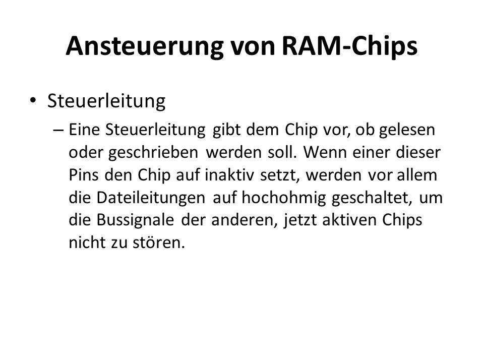 Ansteuerung von RAM-Chips Steuerleitung – Eine Steuerleitung gibt dem Chip vor, ob gelesen oder geschrieben werden soll. Wenn einer dieser Pins den Ch