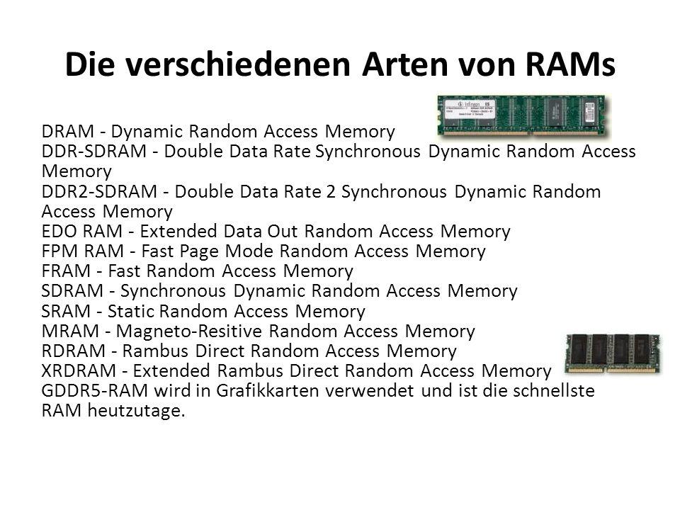 Die verschiedenen Arten von RAMs DRAM - Dynamic Random Access Memory DDR-SDRAM - Double Data Rate Synchronous Dynamic Random Access Memory DDR2-SDRAM
