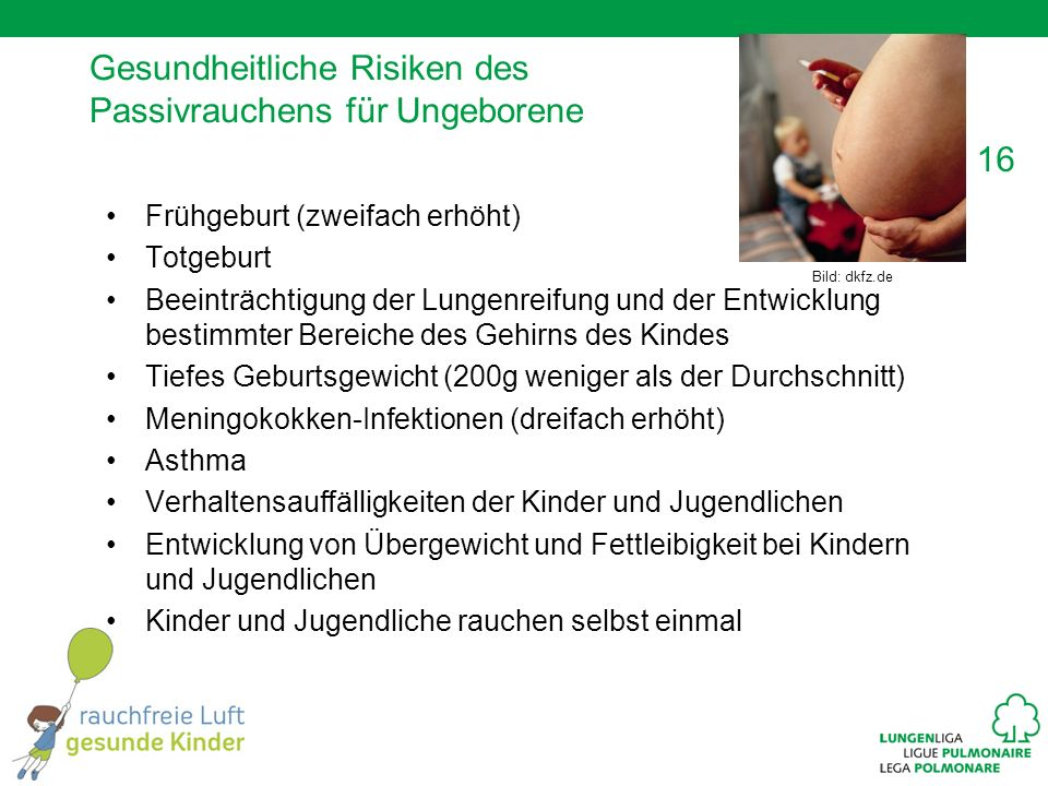 16 Gesundheitliche Risiken des Passivrauchens für Ungeborene Frühgeburt (zweifach erhöht) Totgeburt Beeinträchtigung der Lungenreifung und der Entwicklung bestimmter Bereiche des Gehirns des Kindes Tiefes Geburtsgewicht (200g weniger als der Durchschnitt) Meningokokken-Infektionen (dreifach erhöht) Asthma Verhaltensauffälligkeiten der Kinder und Jugendlichen Entwicklung von Übergewicht und Fettleibigkeit bei Kindern und Jugendlichen Kinder und Jugendliche rauchen selbst einmal Bild: dkfz.de