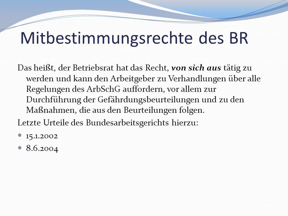 Mitbestimmungsrechte des BR Das heißt, der Betriebsrat hat das Recht, von sich aus tätig zu werden und kann den Arbeitgeber zu Verhandlungen über alle