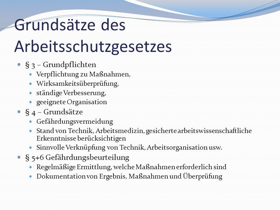 Grundsätze des Arbeitsschutzgesetzes § 3 – Grundpflichten Verpflichtung zu Maßnahmen, Wirksamkeitsüberprüfung, ständige Verbesserung, geeignete Organi