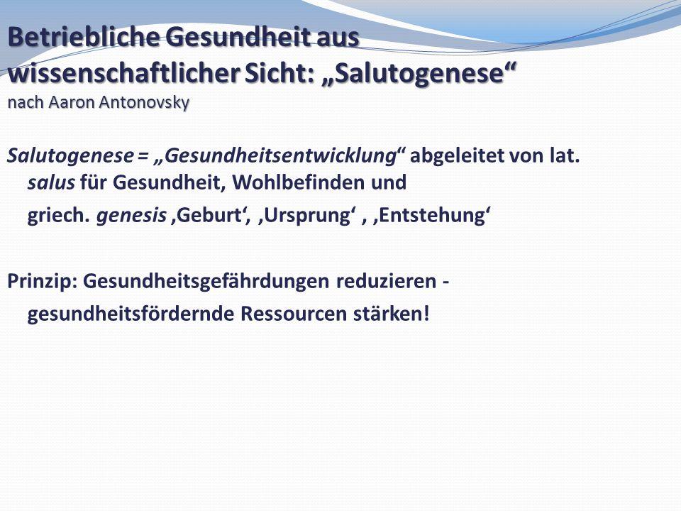 Salutogenese = Gesundheitsentwicklung abgeleitet von lat. salus für Gesundheit, Wohlbefinden und griech. genesis Geburt, Ursprung Entstehung Prinzip: