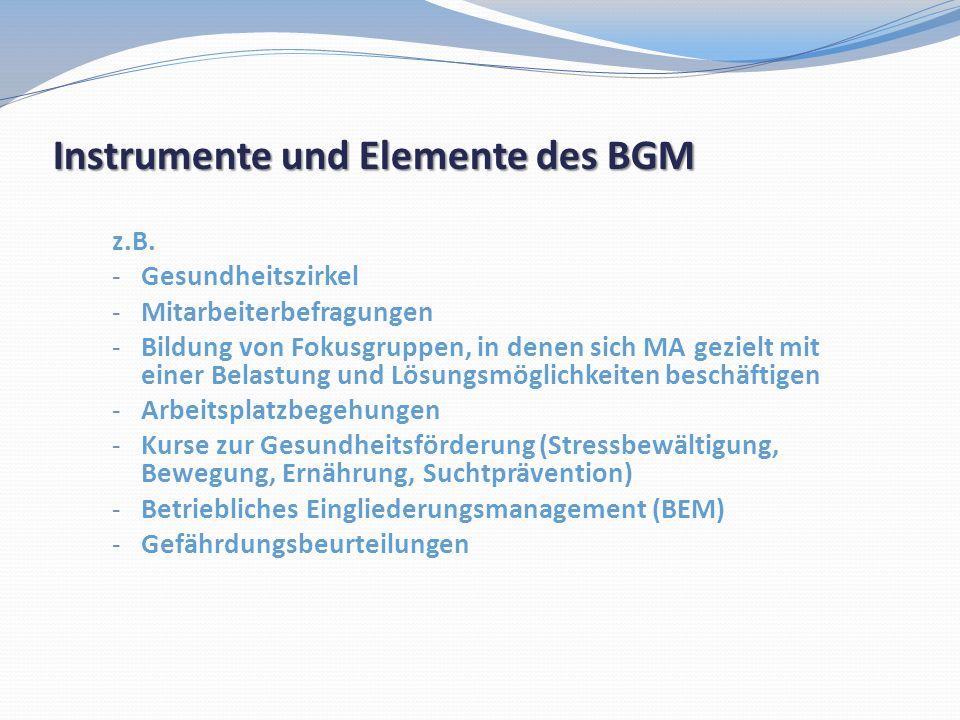 Instrumente und Elemente des BGM z.B. - Gesundheitszirkel - Mitarbeiterbefragungen - Bildung von Fokusgruppen, in denen sich MA gezielt mit einer Bela
