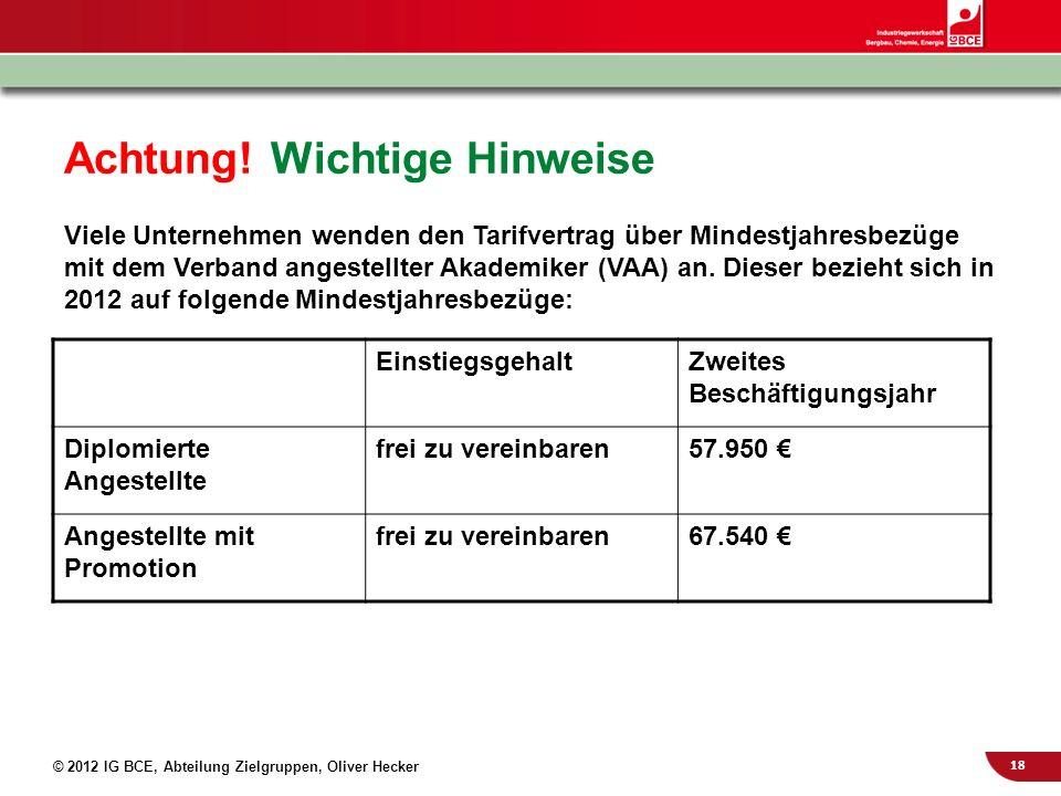 18 © 2012 IG BCE, Abteilung Zielgruppen, Oliver Hecker Achtung! Wichtige Hinweise Viele Unternehmen wenden den Tarifvertrag über Mindestjahresbezüge m