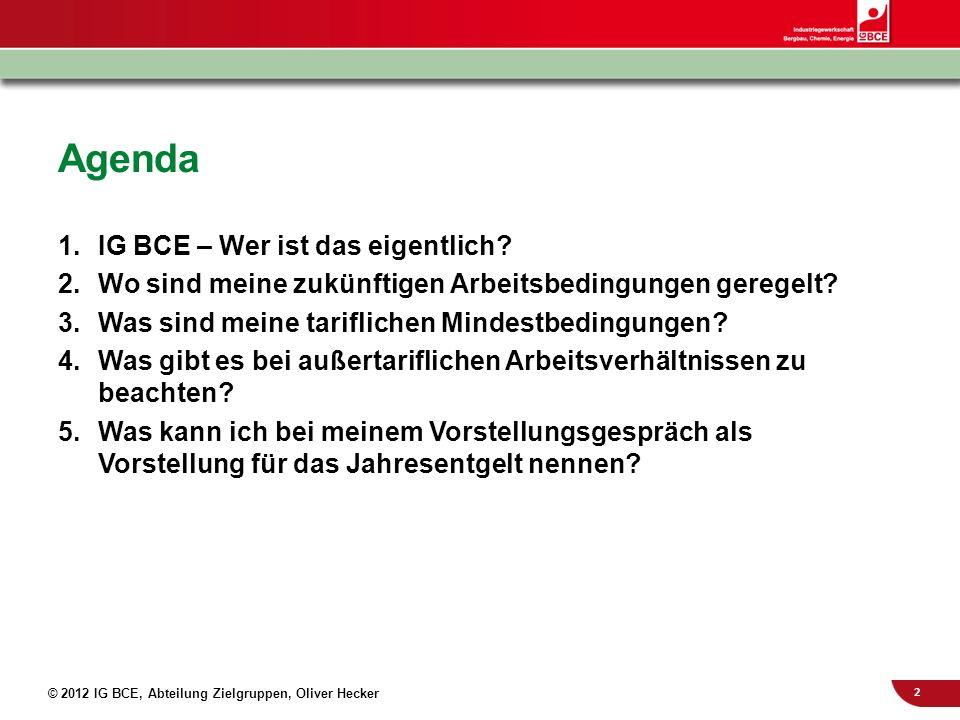 2 © 2012 IG BCE, Abteilung Zielgruppen, Oliver Hecker Agenda 1.IG BCE – Wer ist das eigentlich? 2.Wo sind meine zukünftigen Arbeitsbedingungen geregel