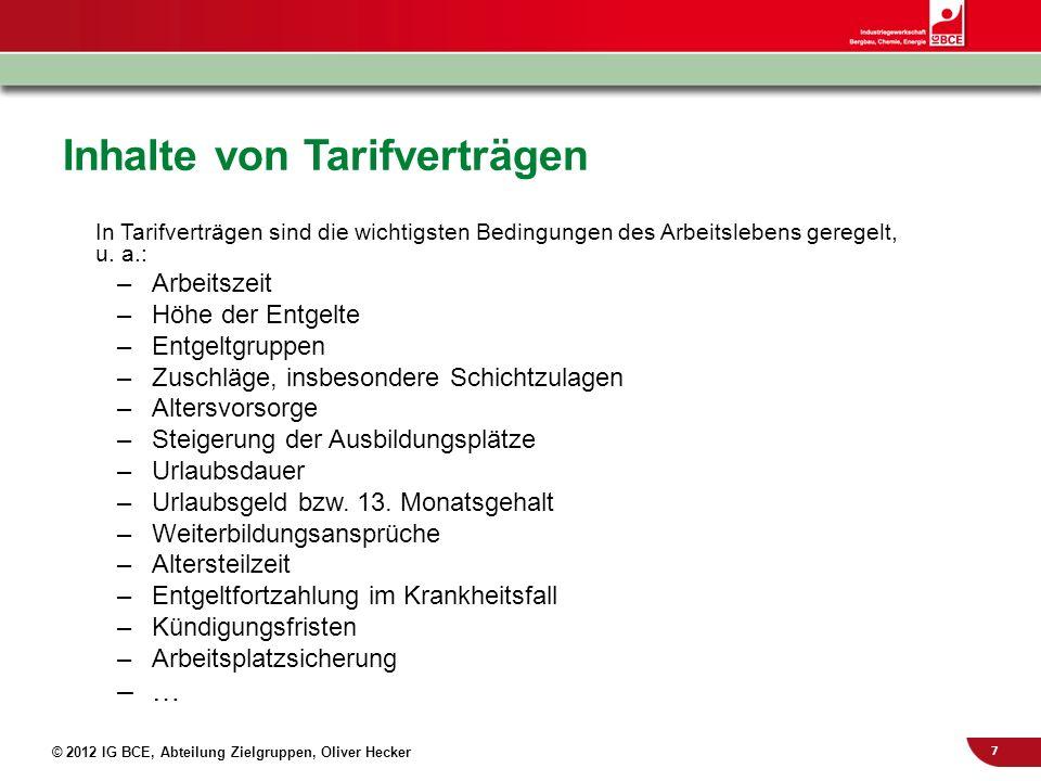 8 © 2012 IG BCE, Abteilung Zielgruppen, Oliver Hecker Auch über den Tarifvertrag hinaus Tarifverträge definieren, wer außertariflich (AT) Beschäftigt ist Sie legen damit Mindestarbeitsbedingungen für den AT-Bereich fest Gewerkschaftliche Betriebsräte gestalten in diesem Bereich Einkommen und Arbeitsbedingungen