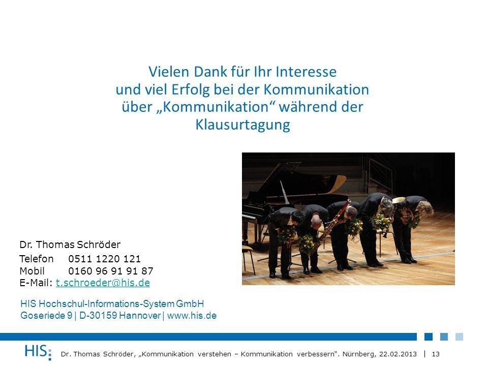 13 Dr. Thomas Schröder, Kommunikation verstehen – Kommunikation verbessern. Nürnberg, 22.02.2013 Vielen Dank für Ihr Interesse und viel Erfolg bei der