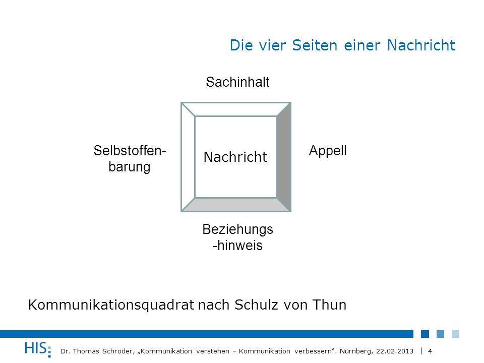 4 Dr. Thomas Schröder, Kommunikation verstehen – Kommunikation verbessern. Nürnberg, 22.02.2013 Die vier Seiten einer Nachricht Kommunikationsquadrat