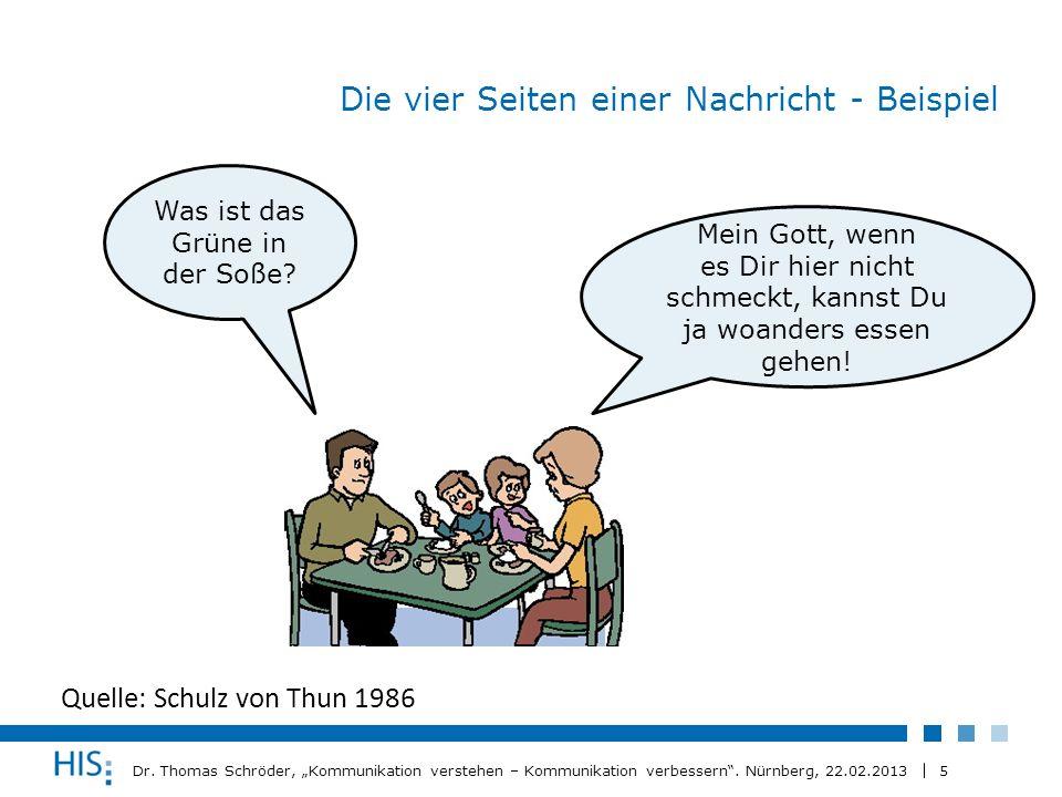 5 Dr. Thomas Schröder, Kommunikation verstehen – Kommunikation verbessern. Nürnberg, 22.02.2013 Die vier Seiten einer Nachricht - Beispiel Quelle: Sch