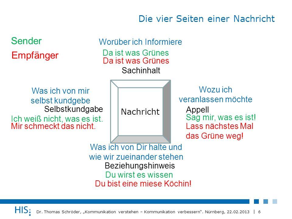 6 Dr. Thomas Schröder, Kommunikation verstehen – Kommunikation verbessern. Nürnberg, 22.02.2013 Die vier Seiten einer Nachricht Nachricht Sachinhalt B