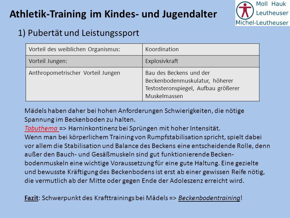 Athletik-Training im Kindes- und Jugendalter 1) Pubertät und Leistungssport Vorteil des weiblichen Organismus:Koordination Vorteil Jungen:Explosivkraf