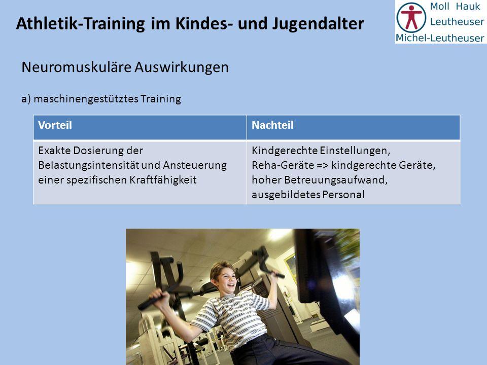 Athletik-Training im Kindes- und Jugendalter Neuromuskuläre Auswirkungen a) maschinengestütztes Training VorteilNachteil Exakte Dosierung der Belastun