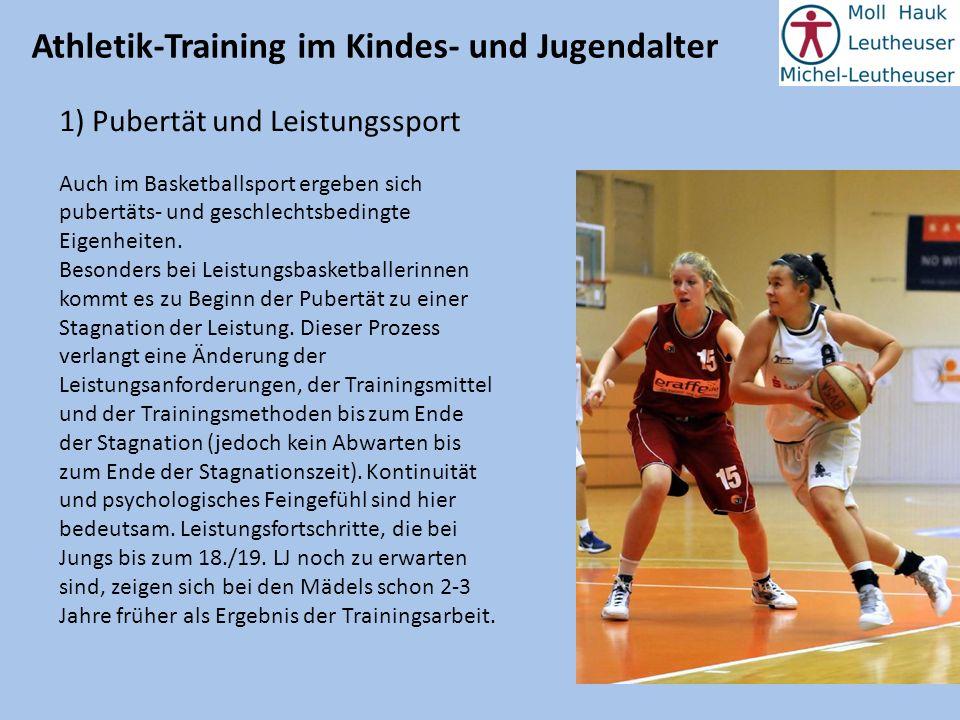 Athletik-Training im Kindes- und Jugendalter 1) Pubertät und Leistungssport Auch im Basketballsport ergeben sich pubertäts- und geschlechtsbedingte Ei