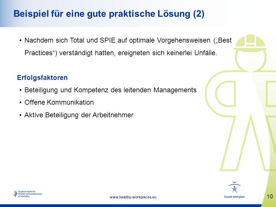 10 www.healthy-workplaces.eu Beispiel für eine gute praktische Lösung (2) Nachdem sich Total und SPIE auf optimale Vorgehensweisen (Best Practices) ve
