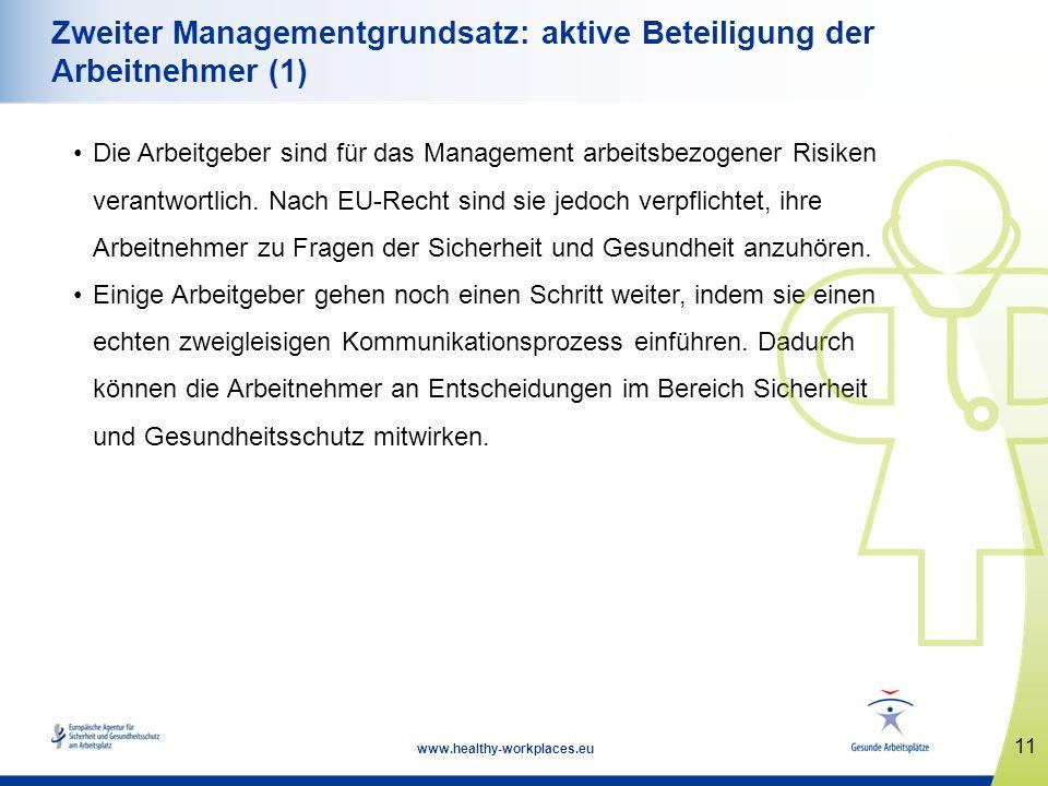 11 www.healthy-workplaces.eu Zweiter Managementgrundsatz: aktive Beteiligung der Arbeitnehmer (1) Die Arbeitgeber sind für das Management arbeitsbezog
