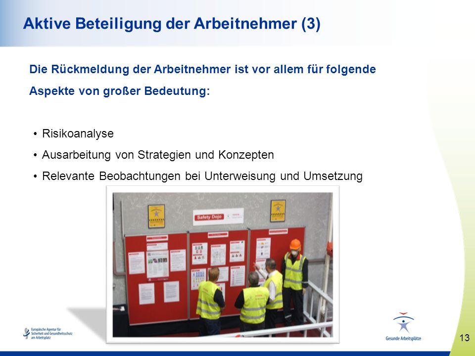 13 www.healthy-workplaces.eu Aktive Beteiligung der Arbeitnehmer (3) Die Rückmeldung der Arbeitnehmer ist vor allem für folgende Aspekte von großer Be
