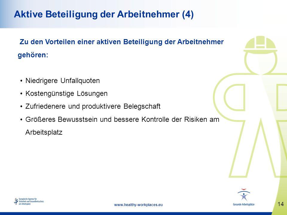 14 www.healthy-workplaces.eu Aktive Beteiligung der Arbeitnehmer (4) Zu den Vorteilen einer aktiven Beteiligung der Arbeitnehmer gehören: Niedrigere U