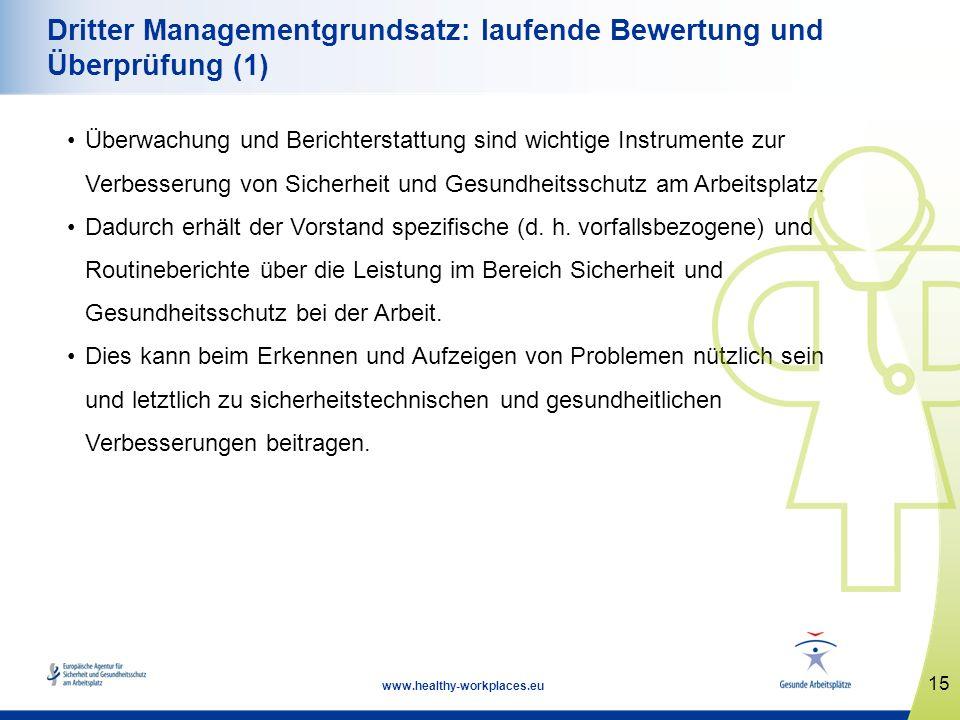 15 www.healthy-workplaces.eu Dritter Managementgrundsatz: laufende Bewertung und Überprüfung (1) Überwachung und Berichterstattung sind wichtige Instr