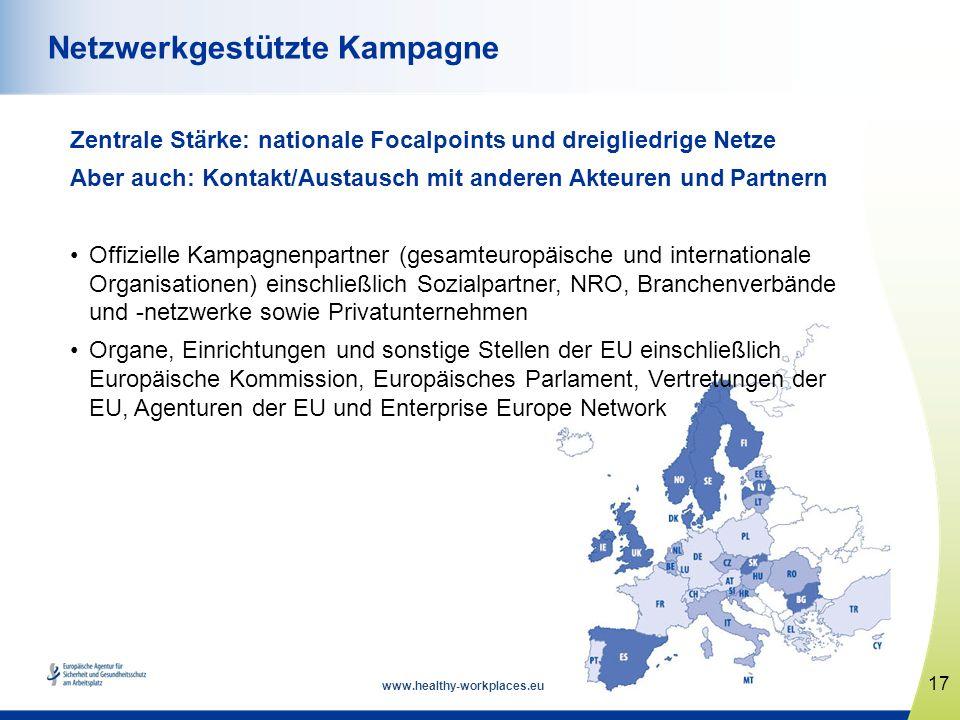 www.healthy-workplaces.eu Zentrale Stärke: nationale Focalpoints und dreigliedrige Netze Aber auch: Kontakt/Austausch mit anderen Akteuren und Partner