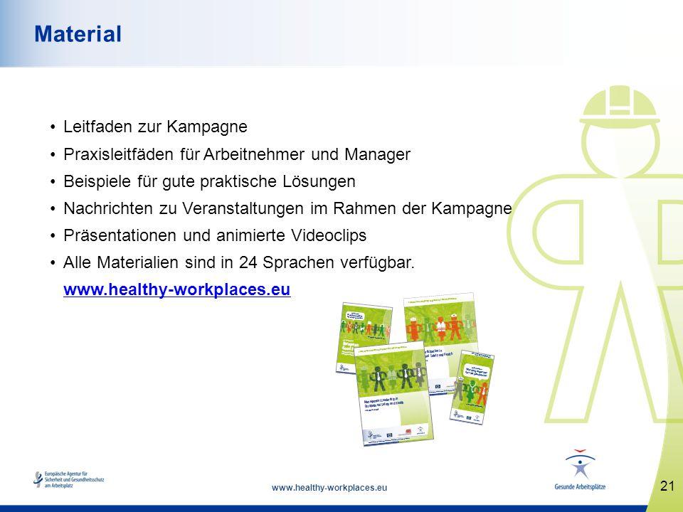 www.healthy-workplaces.eu Leitfaden zur Kampagne Praxisleitfäden für Arbeitnehmer und Manager Beispiele für gute praktische Lösungen Nachrichten zu Ve