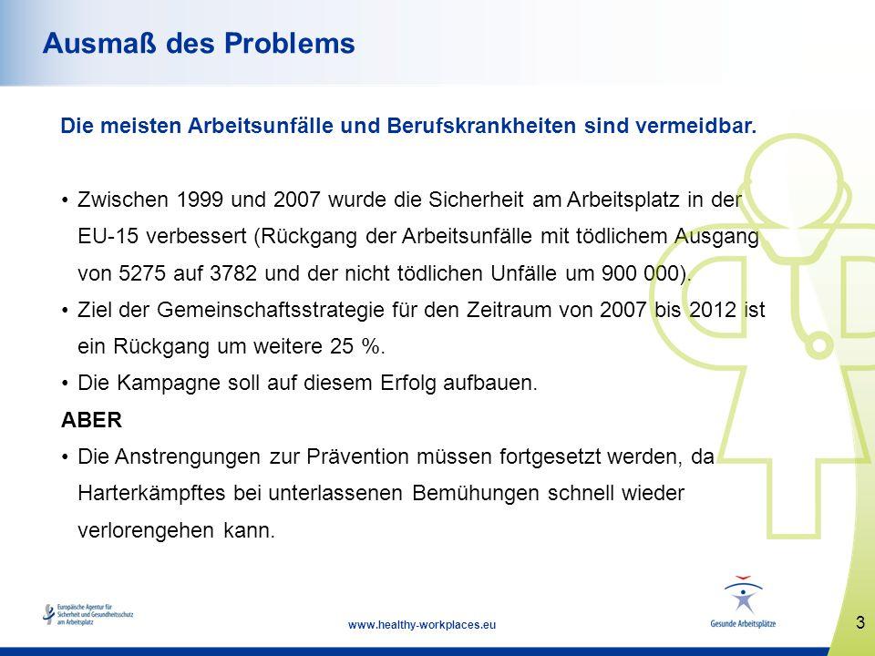 3 www.healthy-workplaces.eu Ausmaß des Problems Die meisten Arbeitsunfälle und Berufskrankheiten sind vermeidbar. Zwischen 1999 und 2007 wurde die Sic