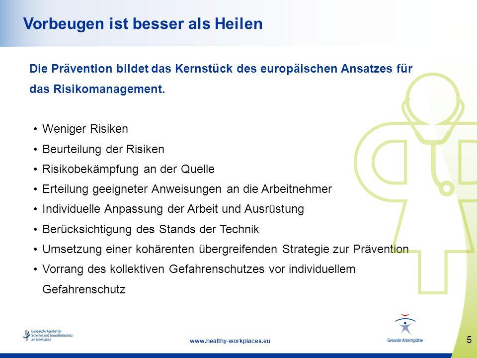 5 www.healthy-workplaces.eu Vorbeugen ist besser als Heilen Die Prävention bildet das Kernstück des europäischen Ansatzes für das Risikomanagement. We