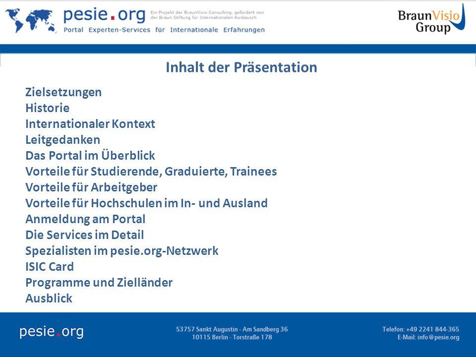 Inhalt der Präsentation - Zielsetzungen Historie Internationaler Kontext Leitgedanken Das Portal im Überblick Vorteile für Studierende, Graduierte, Tr