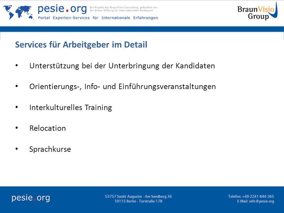 Services für Arbeitgeber im Detail Unterstützung bei der Unterbringung der Kandidaten Orientierungs-, Info- und Einführungsveranstaltungen Interkultur