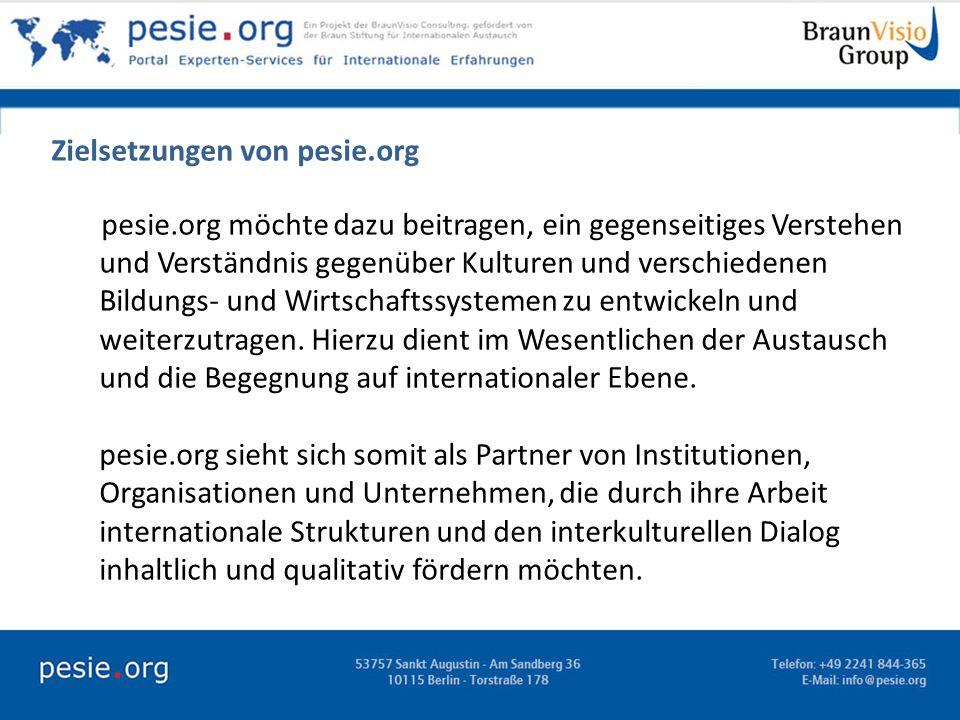 Zielsetzungen von pesie.org pesie.org möchte dazu beitragen, ein gegenseitiges Verstehen und Verständnis gegenüber Kulturen und verschiedenen Bildungs