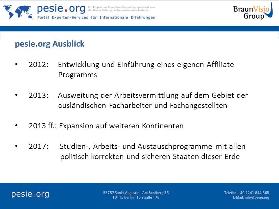 pesie.org Ausblick 2012: Entwicklung und Einführung eines eigenen Affiliate- Programms 2013: Ausweitung der Arbeitsvermittlung auf dem Gebiet der ausl