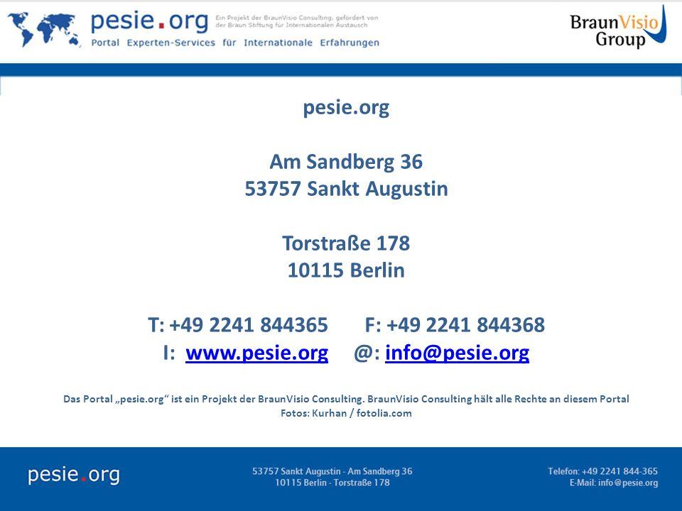 pesie.org Am Sandberg 36 53757 Sankt Augustin Torstraße 178 10115 Berlin T: +49 2241 844365 F: +49 2241 844368 I: www.pesie.org @: info@pesie.orgwww.p