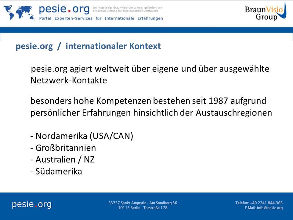 pesie.org / internationaler Kontext pesie.org agiert weltweit über eigene und über ausgewählte Netzwerk-Kontakte besonders hohe Kompetenzen bestehen s