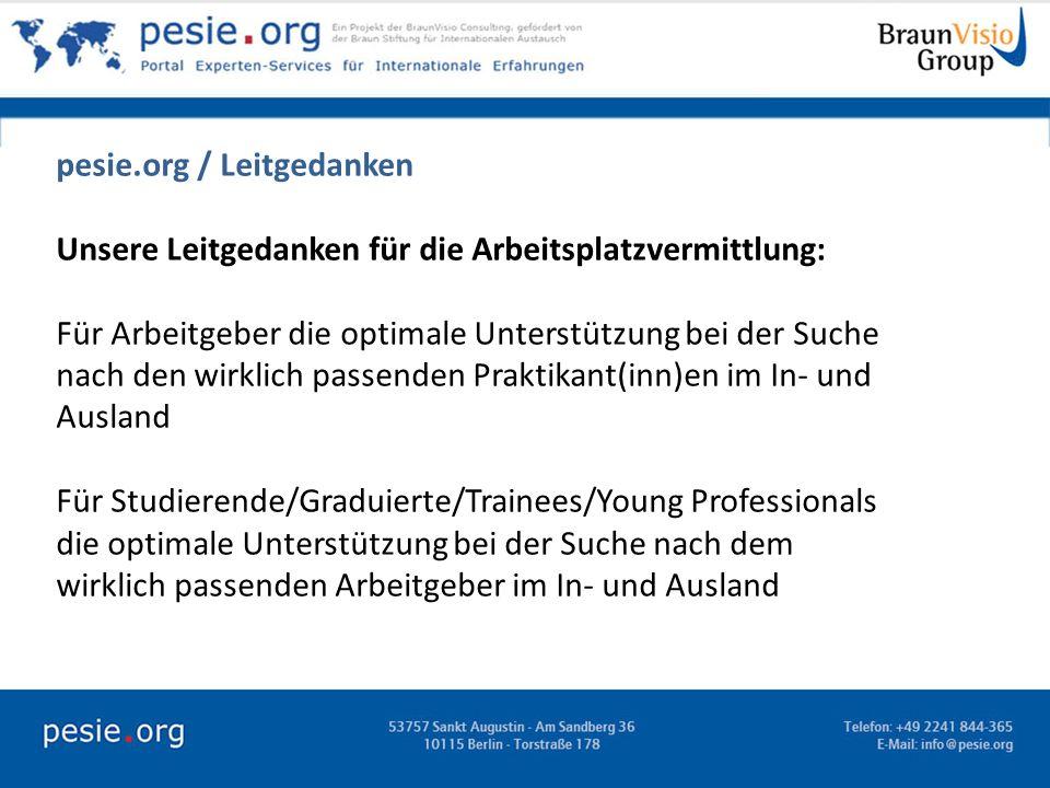 pesie.org / Leitgedanken Unsere Leitgedanken für die Arbeitsplatzvermittlung: Für Arbeitgeber die optimale Unterstützung bei der Suche nach den wirkli